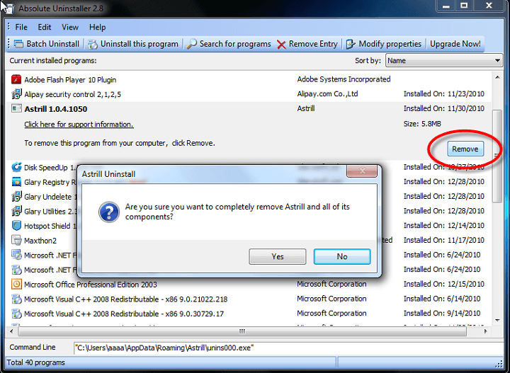 absolute uninstaller remove remnants of software