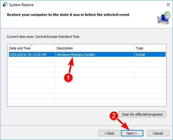 Gwall cais Winword.exe Windows 10