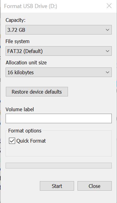 USB flash sürücüyü biçimlendir - Başlat