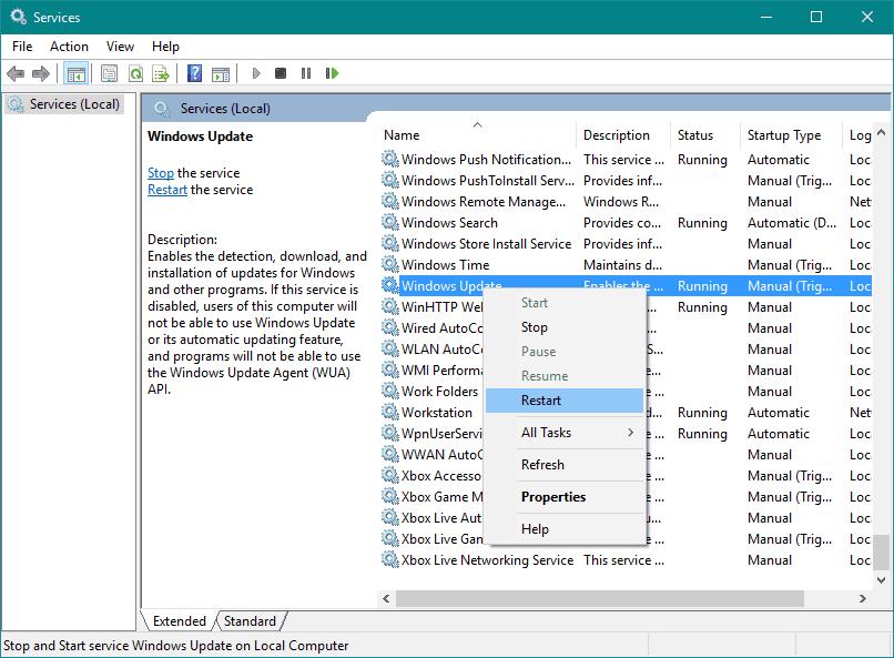 ponovno podizanje sustava windows usluga ažuriranja