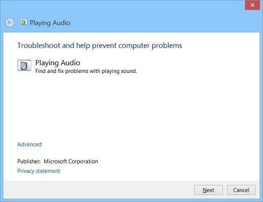 upravljačka ploča za rješavanje problema sa zvukom