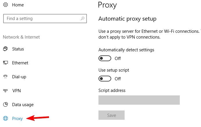 No se puede conectar al servidor proxy Microsoft Edge