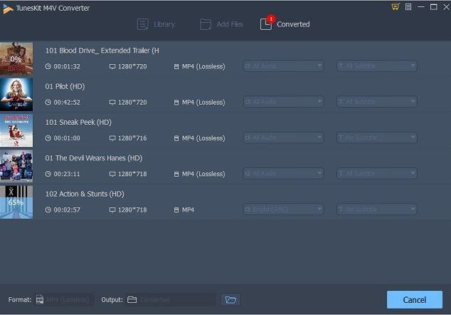 Videos converted to TunesKit M4V Converter