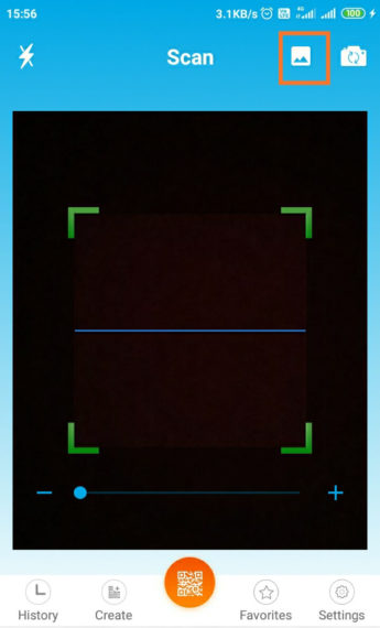 Otvorte fotografie z galérie v aplikácii na čítanie QR kódov