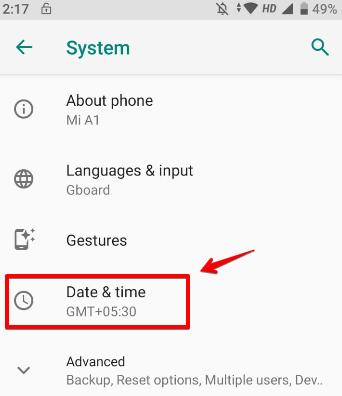 Chọn ngày và giờ trong sistema