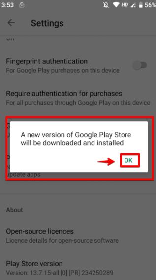 Nhấn OK để cập nhật Google Play Store đến phiên bản mới nhất