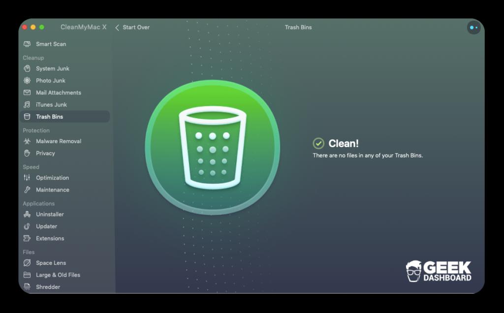 CleanMyMac X Zibil qabları