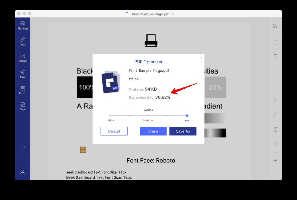 PDFelement istifadə edərək PDF-i sıxın