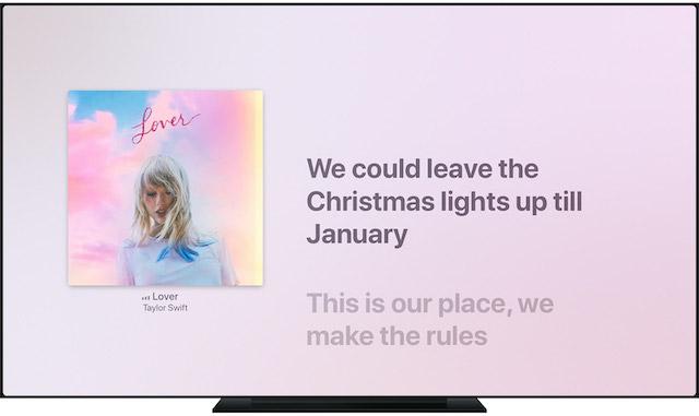 Pristupite sinkroniziranim vremenskim tekstovima u Apple Glazba u vašem Apple televizija