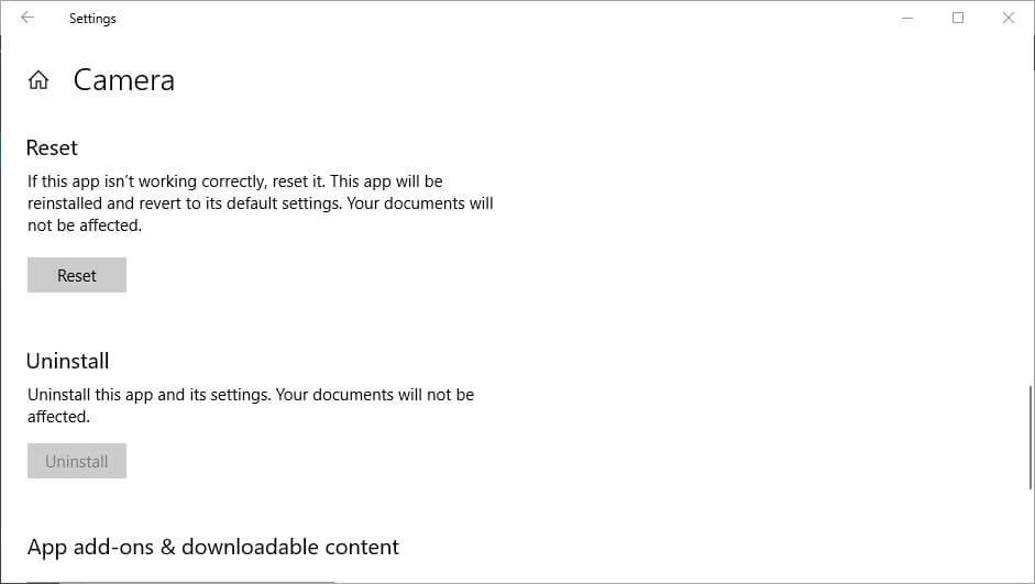 đặt lại mã lỗi ứng dụng webcam 0xa00f4243