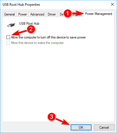 disable allows the computer to turn off this device to save power