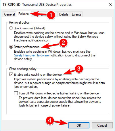 configure the USB Device Disposal Policy for better performance