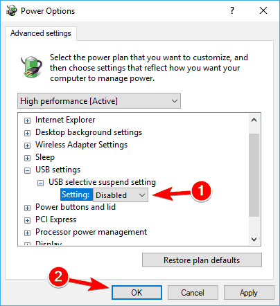 disable USB selective suspend setting in advanced power options