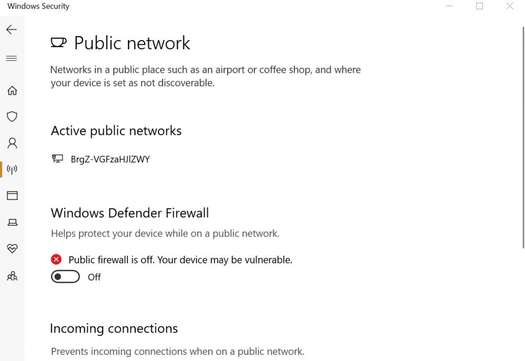 Windows    Pare-feu Defender désactivé