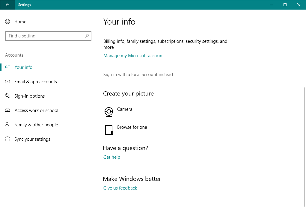 your information account settings Your PC is offline