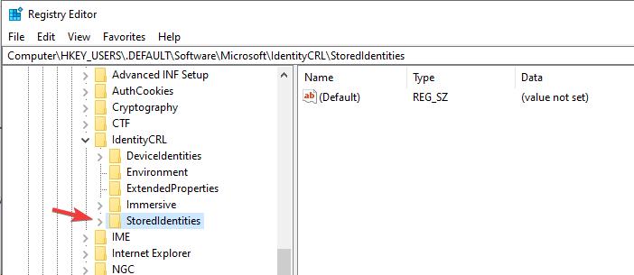 stored identity registry editor your pc is offline windows 8