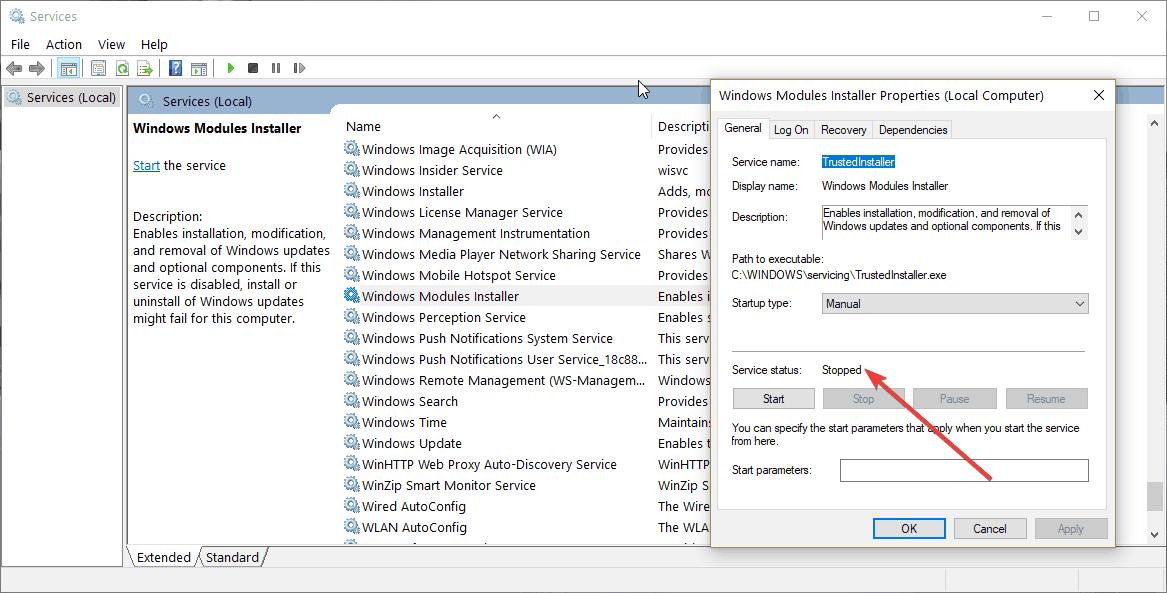 windows  instalador del módulo detenido