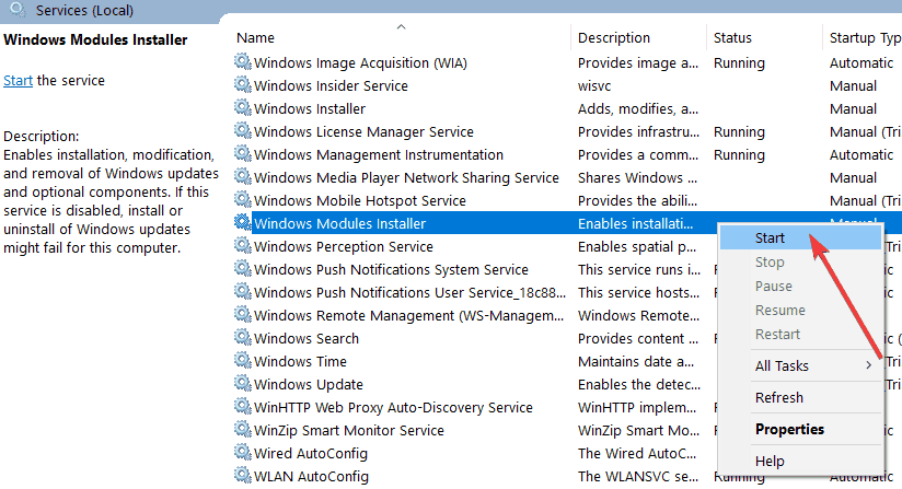 comienzo windows instalador de módulos
