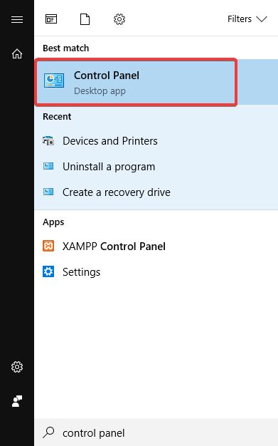 idarəetmə panelində nifaq açılmır windows 10