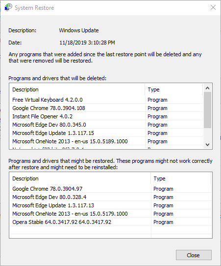 Palautusikkuna puuttuu sistema joka sisältää chakracore.dll-ohjelmiston muutokset tietokoneellasi