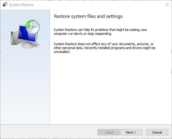 Järjestelmän palautus chakracore.dll puuttuu tietokoneesta
