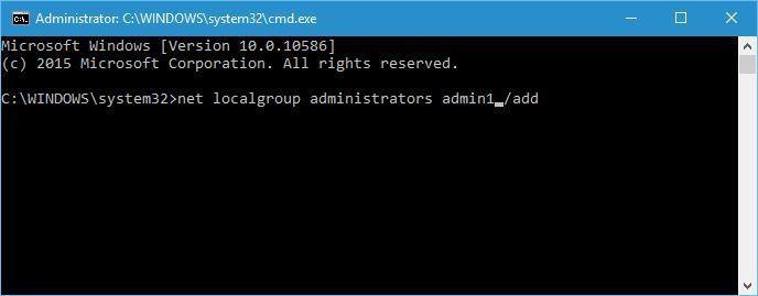 quản trị viên nhóm mạng cục bộ admin1 / add