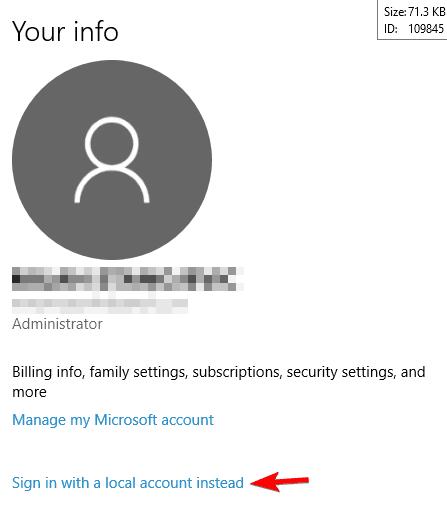 hesabınızı windows 10