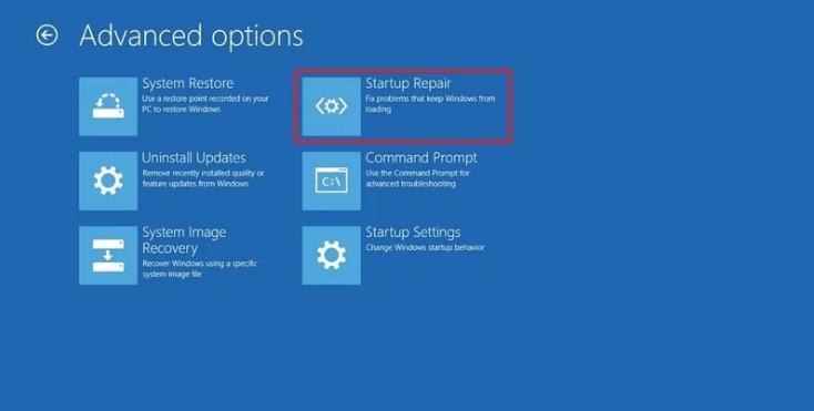 windows  10 opción de reparación de inicio