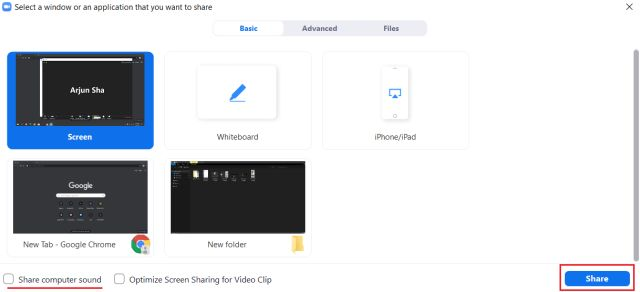 Share your screen by zooming Windows, macOS and Linux
