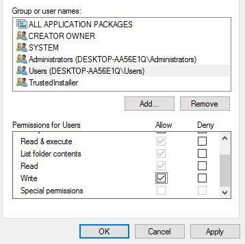 Lỗi mở tệp để ghi Windows 7