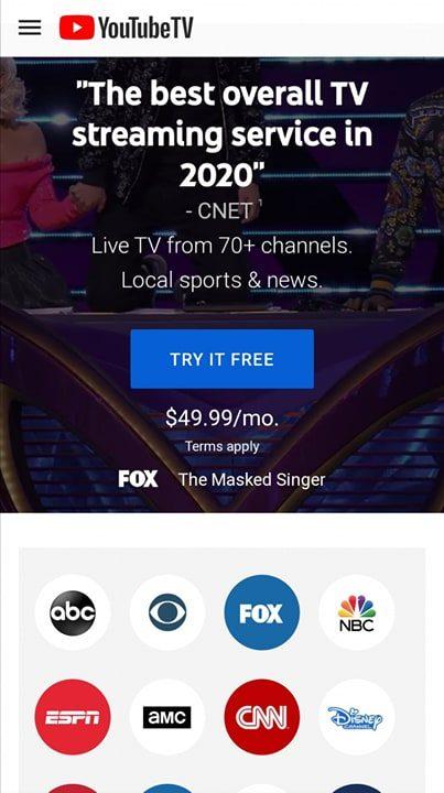 YouTube lista de canales de TV
