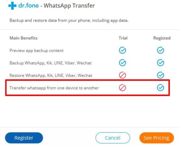 Dr.Fone - WhatsApp ötürmə xüsusiyyətləri