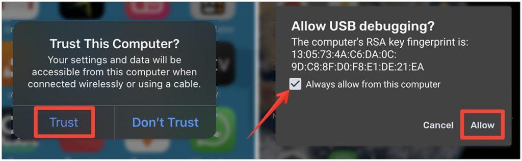 Kompüterə etibar edin və müvafiq olaraq iPhone və Android-də USB ayıklama işarələyin