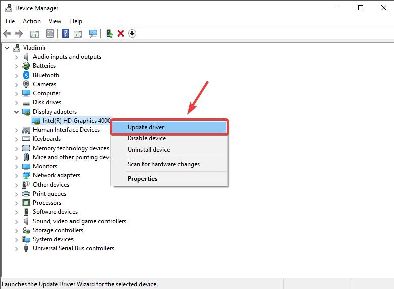 Manajer perangkat memperbarui driver grafis: siluet berjalan lambat