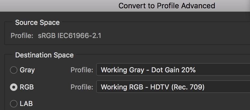 Adobe Photoshop конвертировать в расширенный профиль