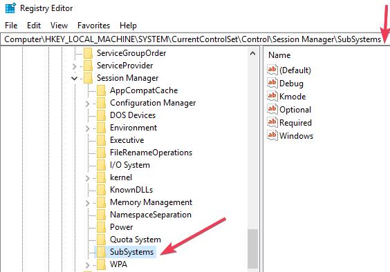 windows  10 subsistemas de editor de registro
