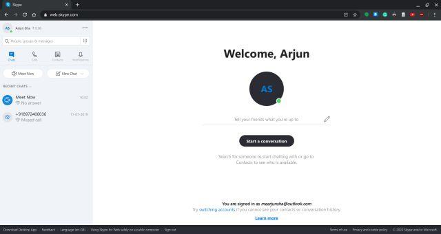 Nhận Skype cho Chromebook Hoạt động: ứng dụng web