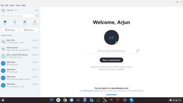 linuxová aplikácia pre Skype na Chromebooku