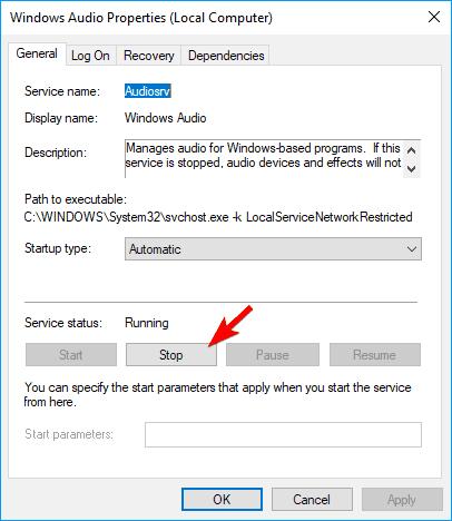 Control de volumen en gris Windows 10 paradas Windows Servicio de audio temporalmente