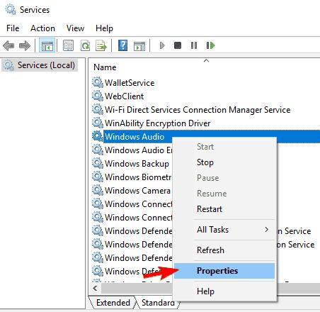 El control de volumen no se muestra en la barra de tareas windows propiedades de servicio de audio