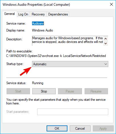 El programa de control de volumen no está instalado Windows Tipo de inicio de propiedades de audio a Automático