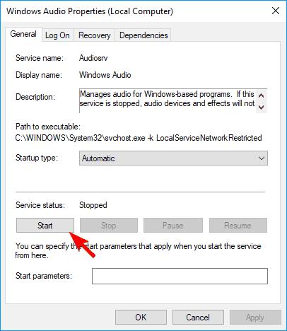 Control de volumen no abrirá inicio Windows Servicio de audio