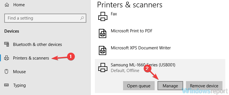 manage printer settings for printers and scanners, an error opening printer in Photoshop