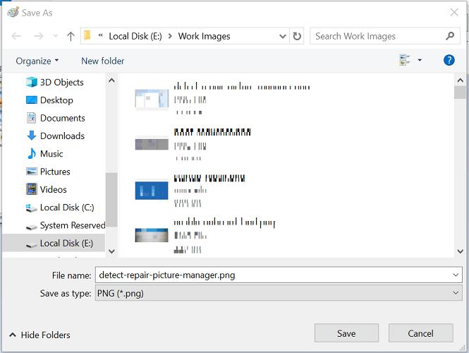 Lỗi trình quản lý ảnh, một số tệp không thể lưu