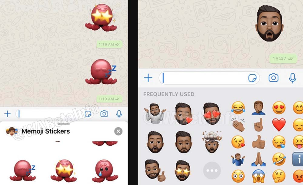 This is how Memoji stickers look on WhatsApp for iPhone 1