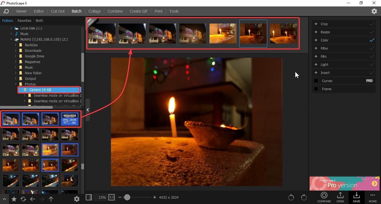 Kuinka muuntaa useita kuvia aktiivisella Photoscape X -sovelluksella Windows 10