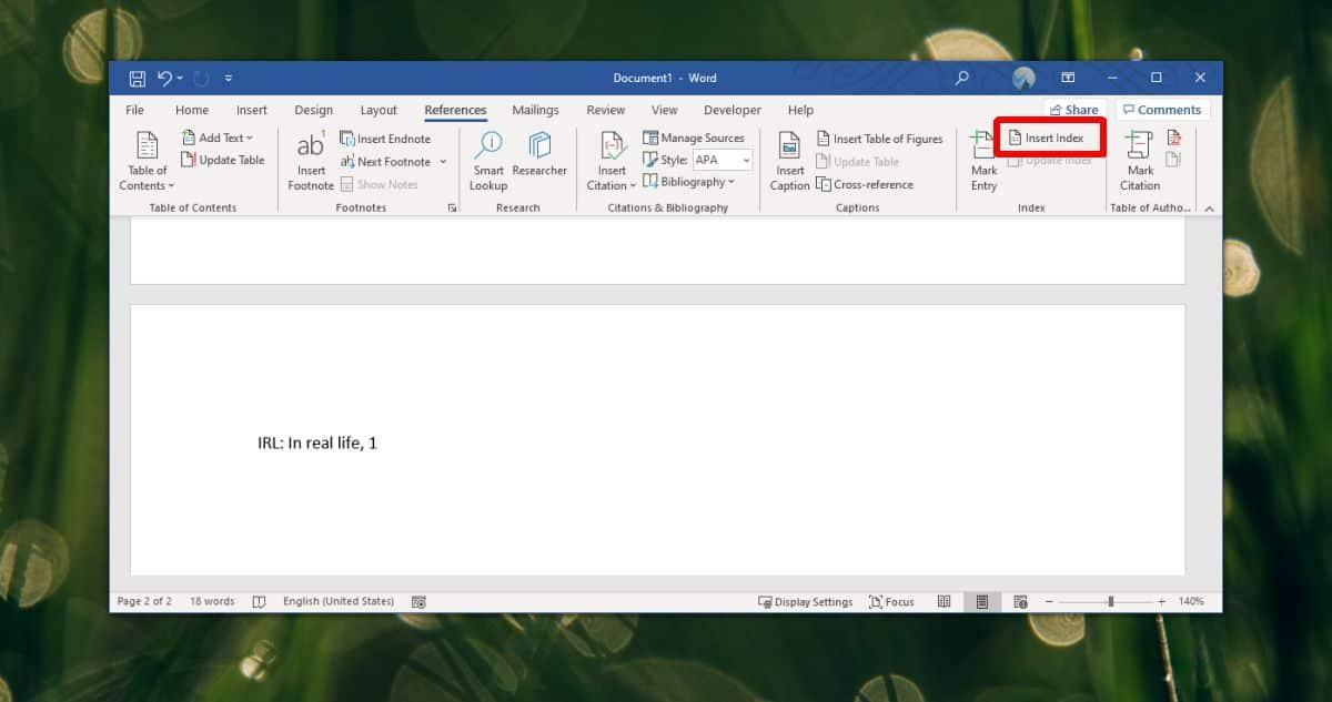Ako vytvoriť index skratiek v programe Word – Office 365