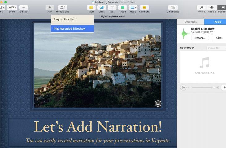 Bagaimana cara merekam narasi dalam presentasi Keynote Anda 1