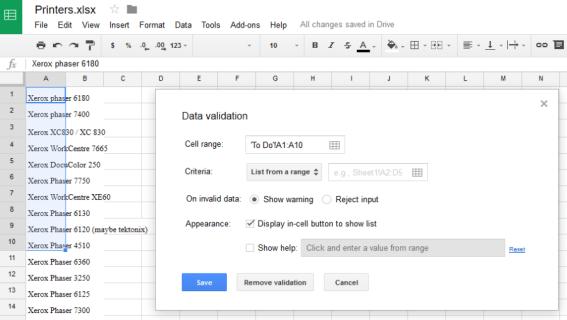 Avattavan luettelon laatiminen Google Sheets -sovelluksessa