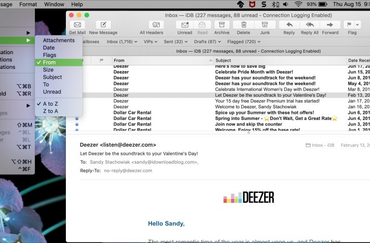 Cara menyortir, mengatur, dan mencari di aplikasi Mail 1